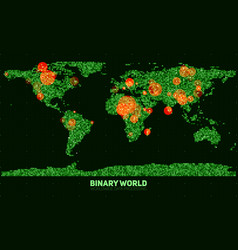 Abstract binary world map continents vector