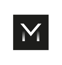 black logo the letter m in the square vector image