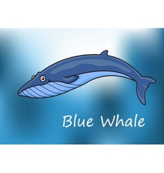 Cartoon blue whale swimming underwater vector image