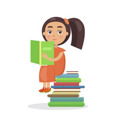 girl in orange dress with open textbook vector image