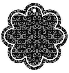 label flower chinese pattern rounded lines vector image