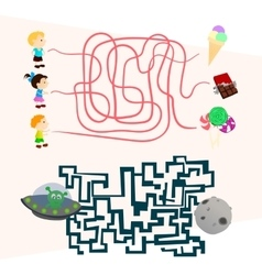 Labyrinth games set for preschoolers find the way vector image vector image