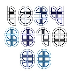 Technical numbers created from sections light vector image vector image