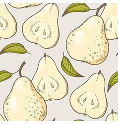 Yellow pear seamless pattern vector image