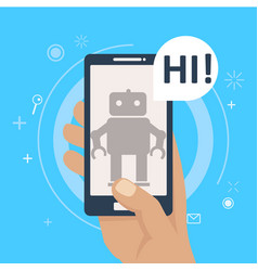 chat bot on phone in hand vector image