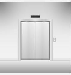 closed chrome metal elevator doors vector image
