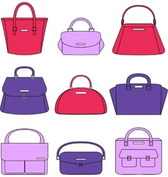 Colorful handbags on white background vector image
