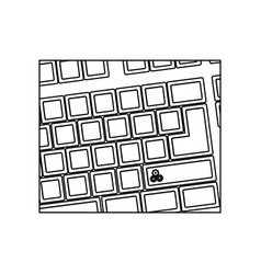 figure computer keyboard with gear symbol icon vector image