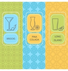 Set linear cocktail card brochures vector image vector image