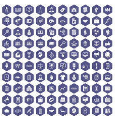 100 partnership icons hexagon purple vector