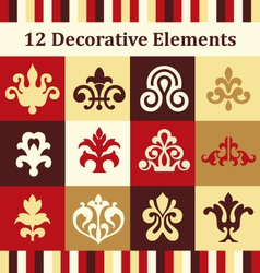 12 decorative elements vector