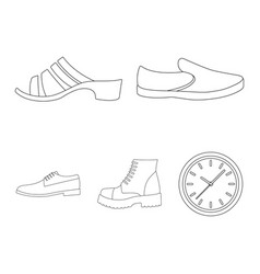 A set icons on a variety shoesdifferent vector