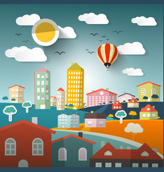 abstract urban landscape with houses and hills vector image