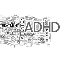adhd beyond the classroom text word cloud concept vector image
