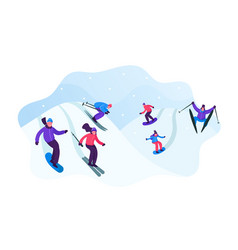 adult people dressed in winter clothing skiing vector image