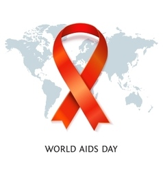 AIDS ribbon on world map vector image