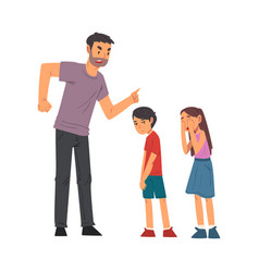 angry father scolding his naughty son and daughter vector image