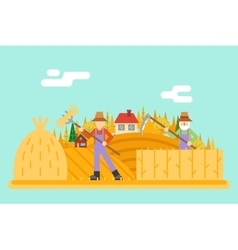 Autumn hay peasant harvestman harvest Icon on vector image