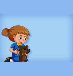 background template design with girl and teddybear vector image