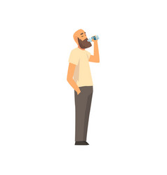 Bald bearded man drinking fresh clean water from vector