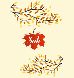 Banner with the words sale autumn leaves vector