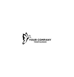 black butterfly tattoo outline logo design vector image