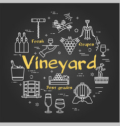 Black concept with icons showing wine vector