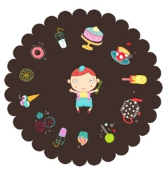 boy with sweets vector image vector image
