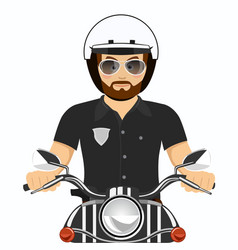 Brutal bearded police officer riding a motorcycle vector