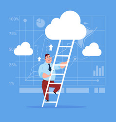 Businessman climb up ladder stairs concept vector