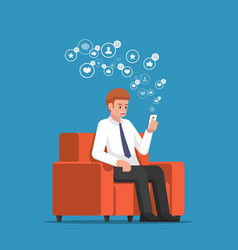 businessman sitting at sofa and holding vector image
