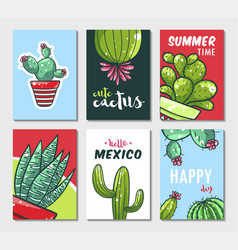 cactus hand drawn poster vector image