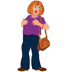 Cartoon fat woman in purple top with open mouth vector image