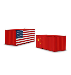 china usa trade war realistic cargo containers vector image