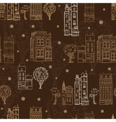Chocolate Brown Town Houses Trees Streets vector