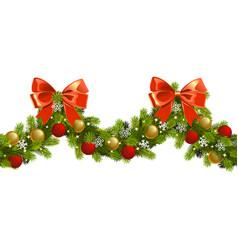 christmas fir wave border vector image