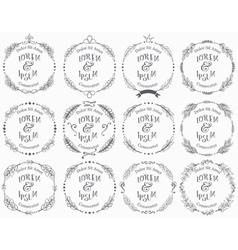 Collection floral handdrawn frames vector