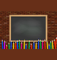 colored pencils on green school board vector image
