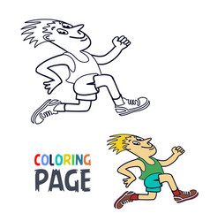 coloring page with running man cartoon vector image