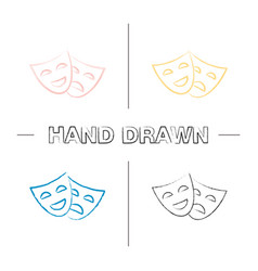 comedy and tragedy masks hand drawn icons set vector image