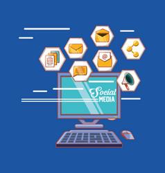 computer and social media shape hexagon icons vector image