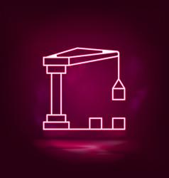 container crane crane machine neon icon vector image