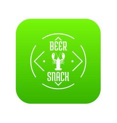 Crayfish icon green vector