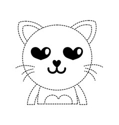 dotted shape enamored cat adorable feline animal vector image