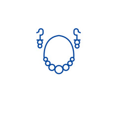 earrings necklace line icon concept earrings vector image