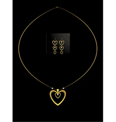 Elegant nested gold heart necklace set vector