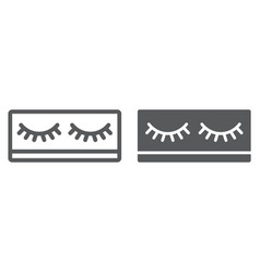 Fake eyelashes line and glyph icon makeup and vector