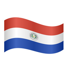 flag of paraguay waving on white background vector image