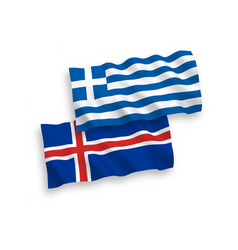 Flags greece and iceland on a white background vector