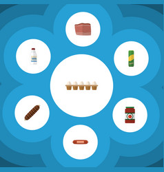 Flat icon food set of bottle kielbasa beef and vector